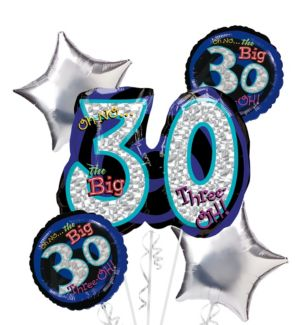 30th Birthday Balloon Bouquet 5pc - Silver Oh No!