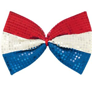 Giant Sequin Patriotic Bow Tie