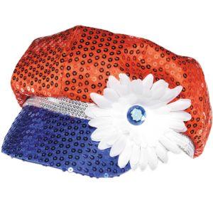 Sequin Patriotic Mod Cap