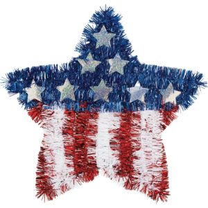 Tinsel American Flag Star Decoration