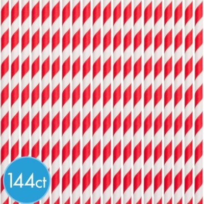 Red and White Paper Straws 144ct