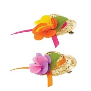 Mini Straw Hat Hair Clips 2ct