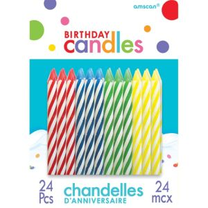 Multicolor Spiral Birthday Candles 24ct