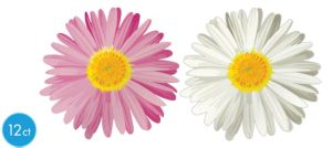 White & Pink Daisy Cutouts 13in 12ct