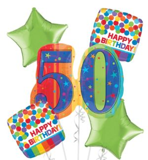 50th Birthday Balloon Bouquet 5pc - A Year to Celebrate
