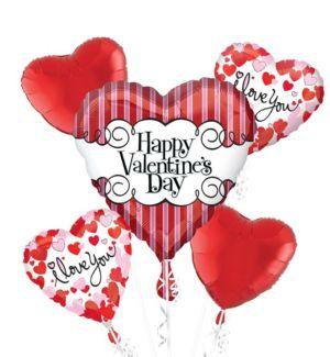 Striped Heart Valentines Day Balloon Bouquet 5pc