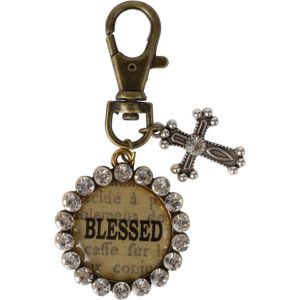Vintage Blessed Cross Key Chain