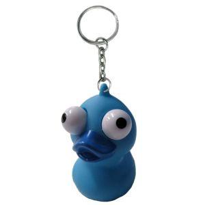 Eye Pop Squeeze Blue Duck Keychain