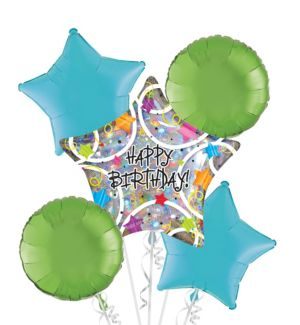 Happy Birthday Balloon Bouquet 5pc - Holographic Star