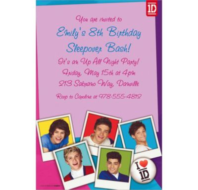 One Direction Custom Invitation