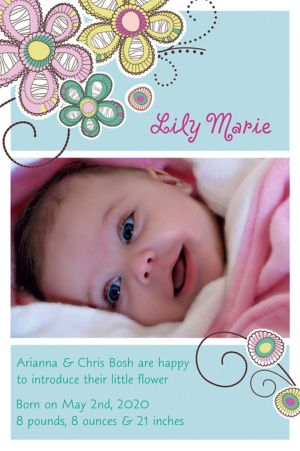 Custom Baby Block Floral Photo Announcement