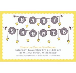 Custom Baby Clothesline Neutral Invitations