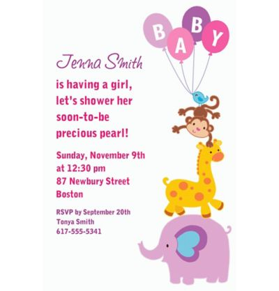 Animals with Girl Balloons Custom Invitation