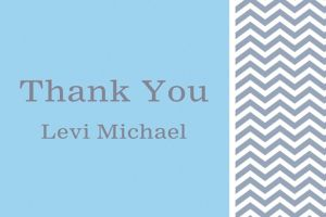 Custom Chevron and Initial Boy Thank You Note