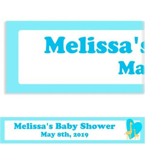 Custom Sweet Giraffes and Heart Boy Baby Shower Banner 6ft