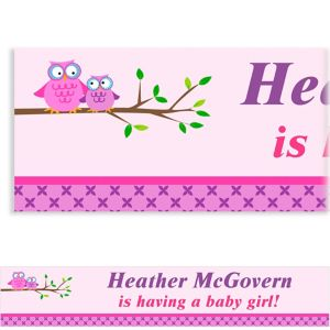 Custom Owls on a Branch Baby Shower Banner 6ft
