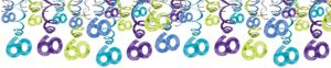 The Party Continues 60th Birthday Swirl Decorations 30ct