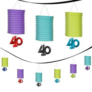The Party Continues 40th Birthday Paper Lantern Garland 12ft