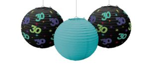 The Party Continues 30th Birthday Paper Lanterns 3ct