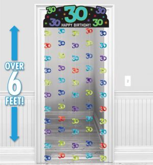 The Party Continues 30th Birthday Doorway Curtain 77in