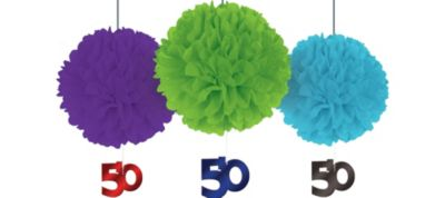 Deluxe The Party Continues 50th Birthday Fluffy Decorations 3ct