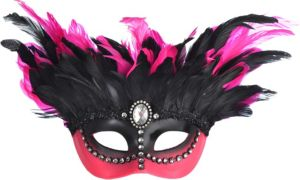 Pink & Black Gemstone Feather Masquerade Mask