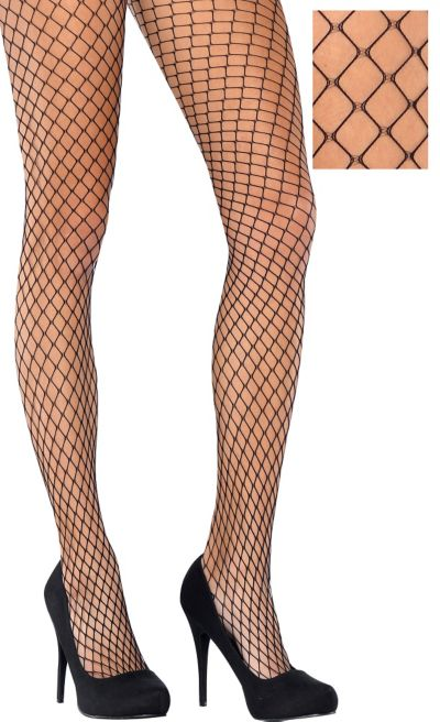 Adult Classic Wide Diamond Black Fishnet Pantyhose