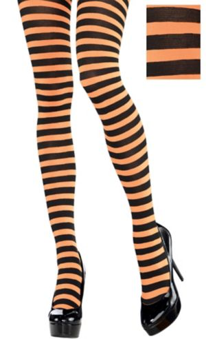 Adult Orange and Black Striped Tights