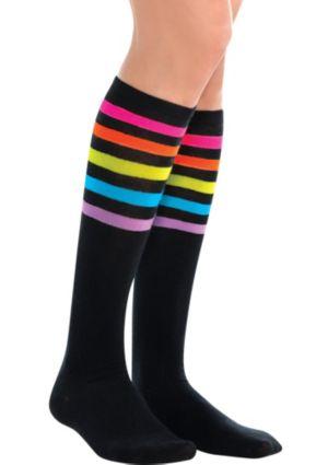 Black Neon Stripe Knee-High Socks