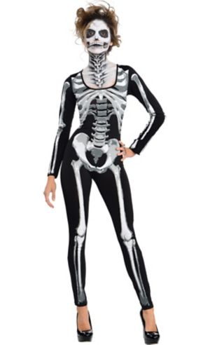 Adult Black & Bone Catsuit - Skeleton