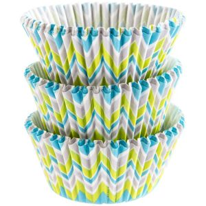 Lime & Teal Chevron Baking Cups 75ct