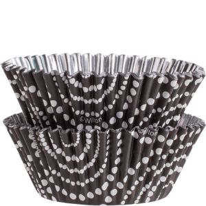 Black Dot Circles Foil Baking Cups 36ct