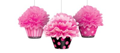 Fabulous Cupcake Fluffy Decorations 3ct