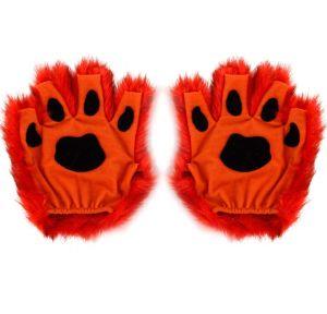 Orange Paw Fingerless Gloves