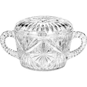 CLEAR Plastic Crystal Cut Sugar Bowl