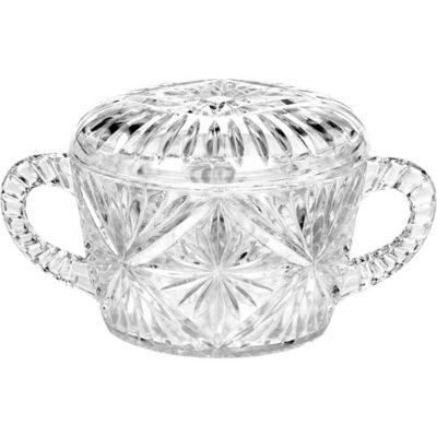 CLEAR Plastic Crystal Cut Sugar Bowl