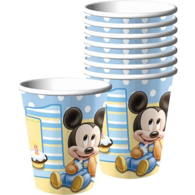 1st Birthday Mickey Mouse Cups 8ct