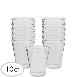 CLEAR Plastic Double Shot Glasses 10ct