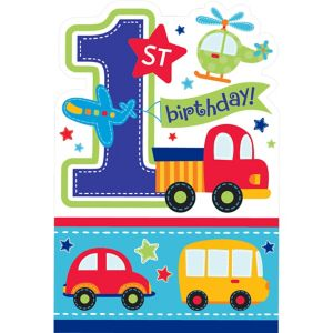 All Aboard 1st Birthday Invitations 8ct