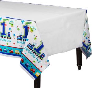 All Aboard 1st Birthday Table Cover