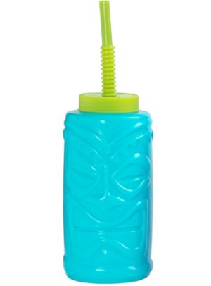 Caribbean Luau Water Bottle with Straw