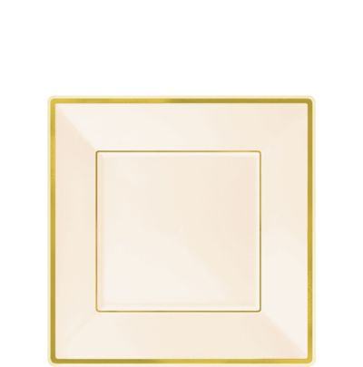 Cream Gold Trimmed Premium Square Dessert Plates 8ct