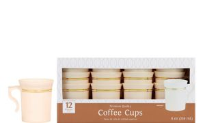 Cream Gold-Trimmed Premium Plastic Coffee Mugs 12ct