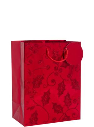 Red Glitter Holly Christmas Gift Bag