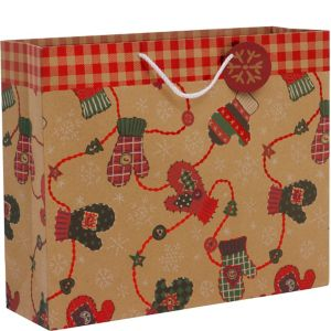 Kraft Winter Mittens Christmas Gift Bag