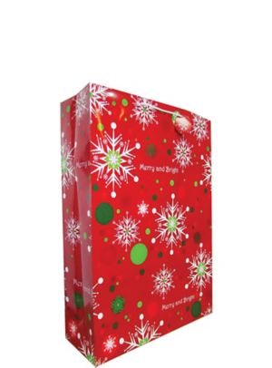 Merry & Bright Snowflake Christmas Gift Bag