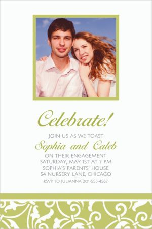 Custom Leaf Green Ornamental Scroll Photo Invitations