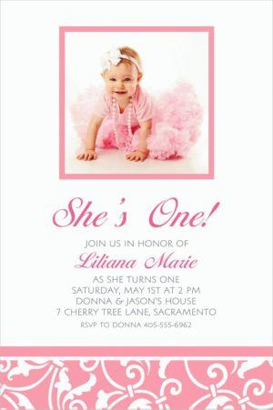 Custom Pink Ornamental Scroll Photo Invitations