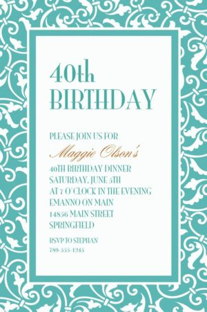Custom Robin's Egg Blue Ornamental Scroll Invitations