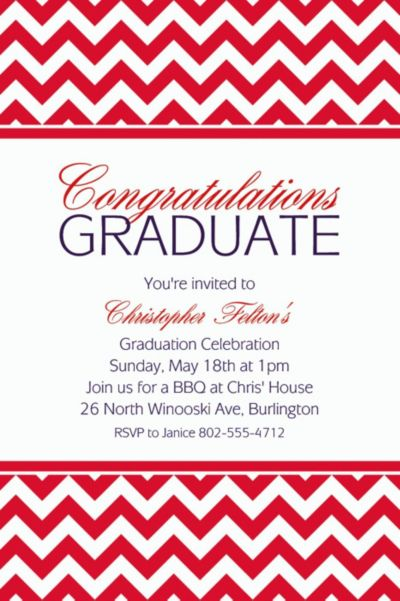 Red Chevron Custom Invitation